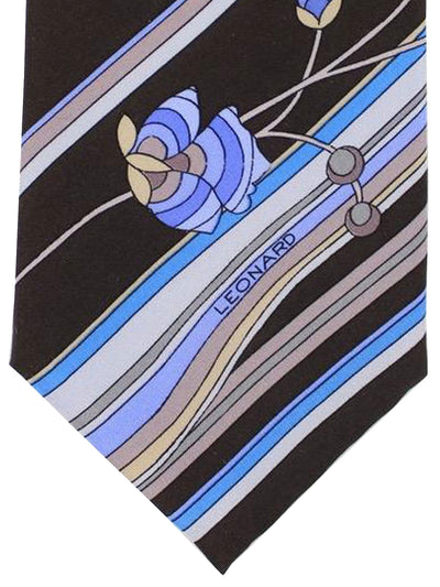 Leonard Paris Tie Dark Brown Blue Lilac Stripes Floral Design - Vintage Collection