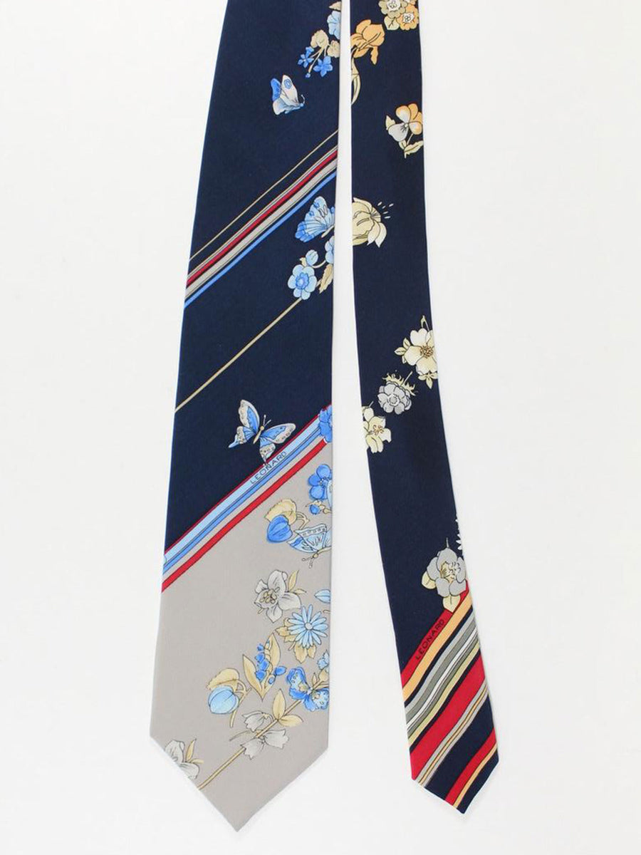 Leonard Paris Tie Gray Blue Burgundy Stripes Floral Design - Vintage Collection