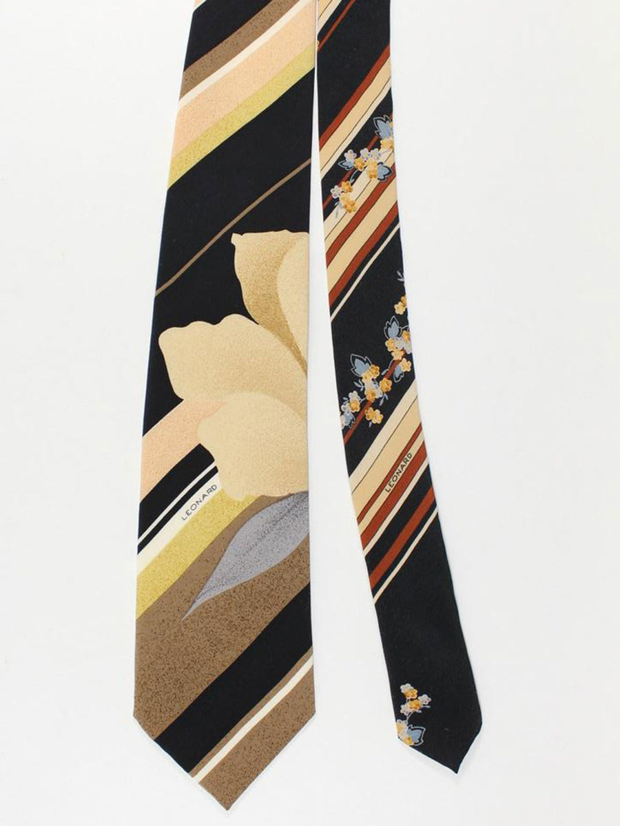 Leonard Paris Tie Brown Orange Gray Stripes Floral Design - Vintage Collection