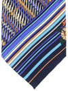 Leonard Paris Tie Navy Purple Gray Stripes Geometric Design - Vintage Collection
