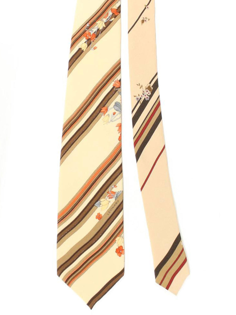 Leonard Paris Tie Cream Brown Stripes Floral Design - Vintage Collection