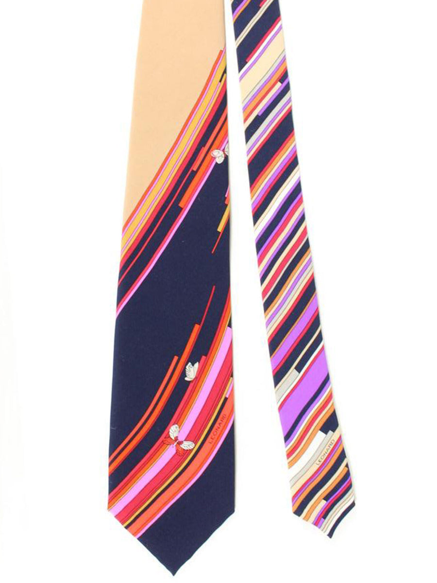 Leonard Paris Tie Dark Navy Cream Pink Geometric Design - Vintage Collection