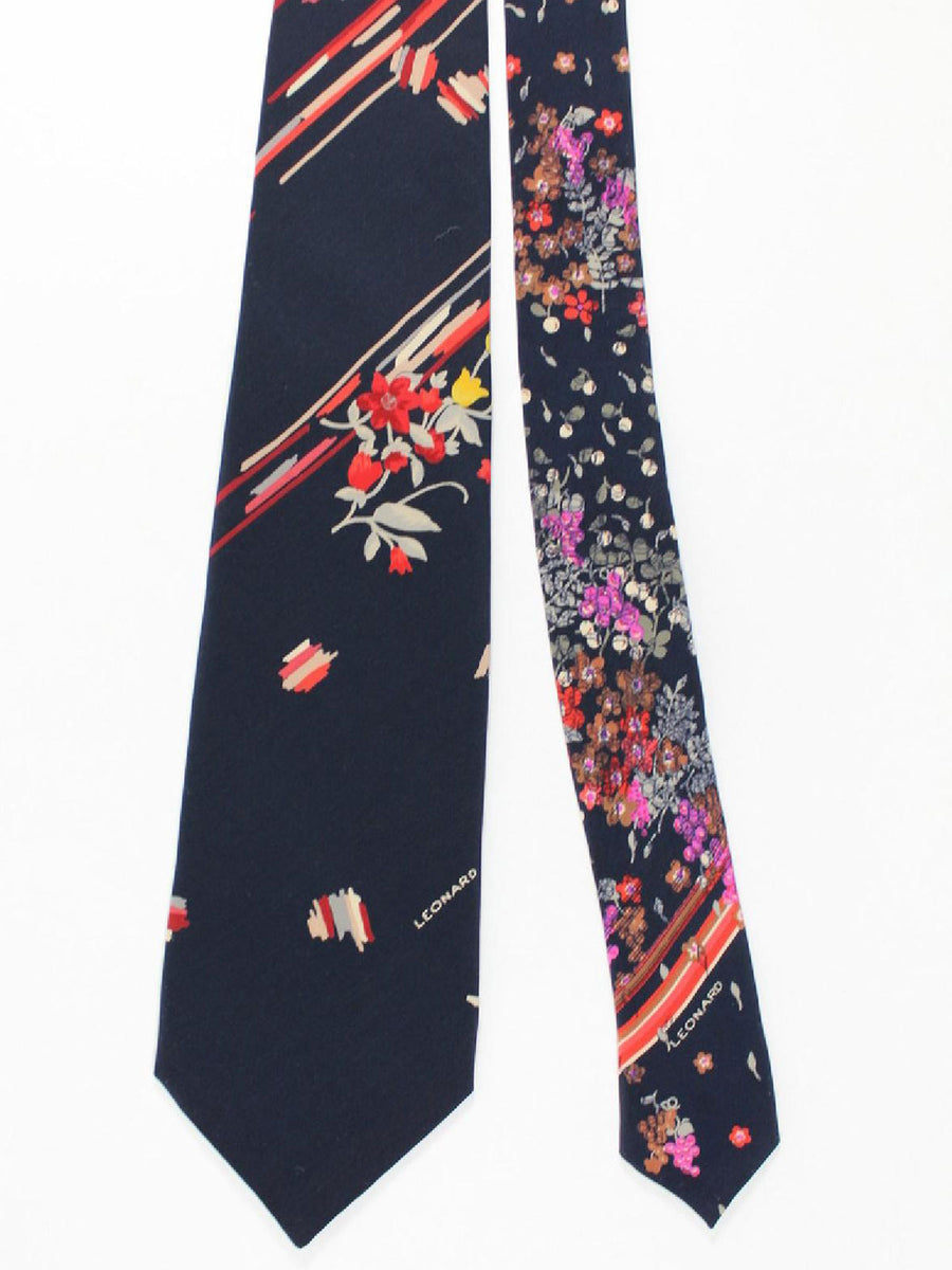 Leonard Paris Tie Black Red Gray Floral - Vintage Collection