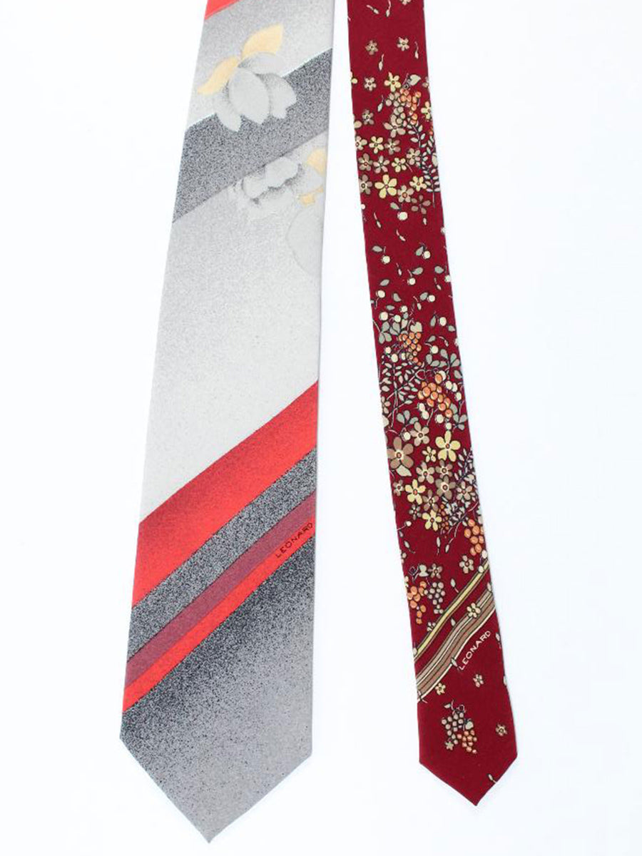 Leonard Paris Tie Gray Red Striped Floral - Vintage Collection