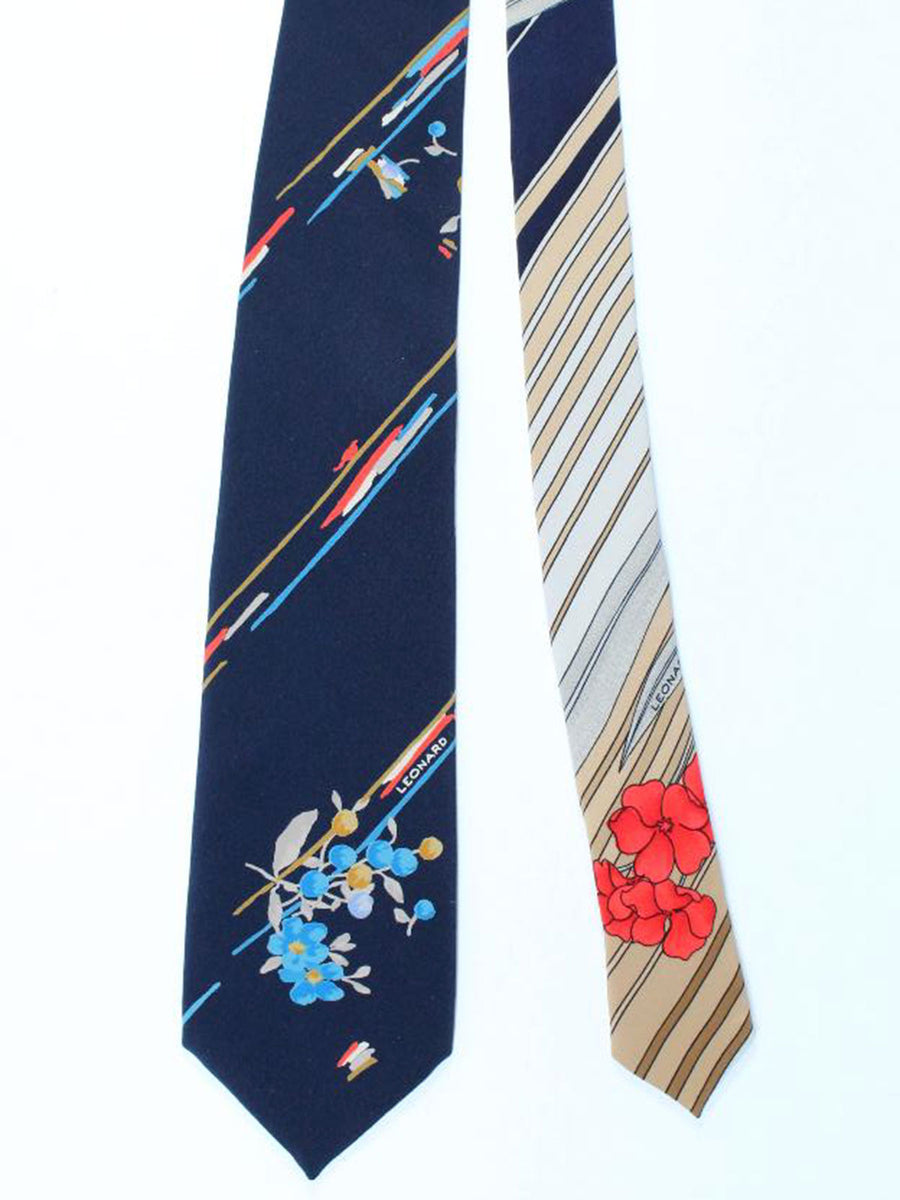 Leonard Paris Tie Dark Navy Blue Floral - Vintage Collection