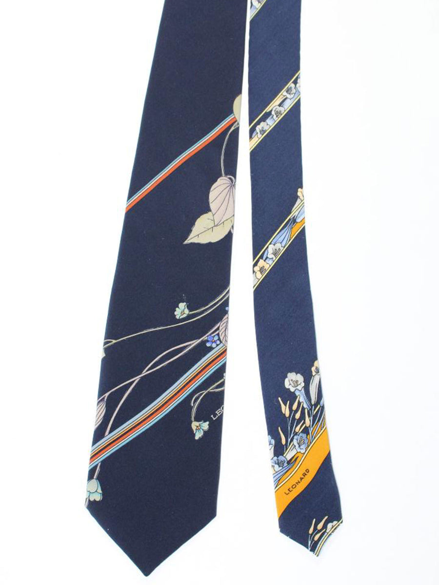 Leonard Paris Tie Navy Gray Brown Blue Stripes Floral - Vintage Collection