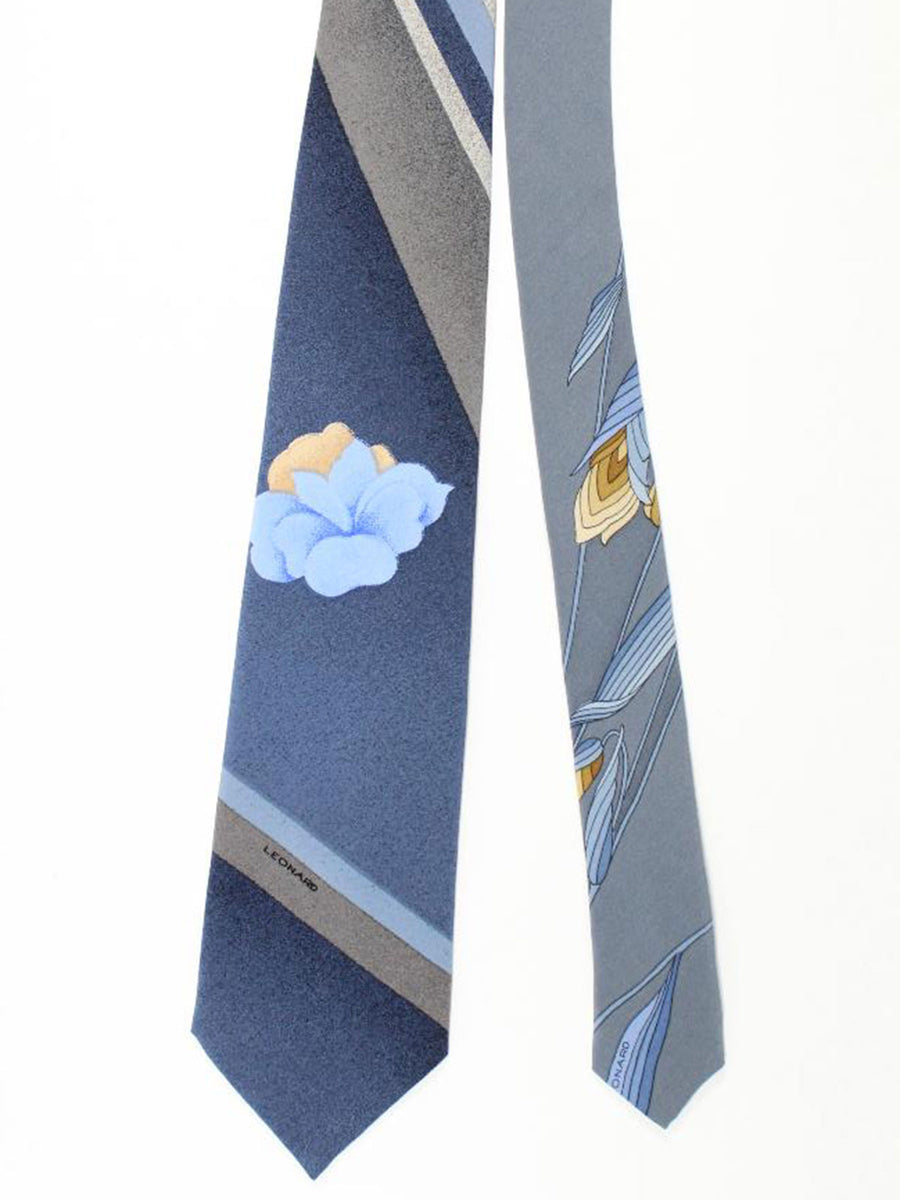 Leonard Paris Tie Metallic Gray Stripes Floral - Vintage Collection