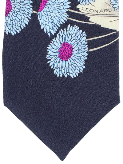 Leonard Paris Tie Black Blue Magenta Floral - Vintage Collection