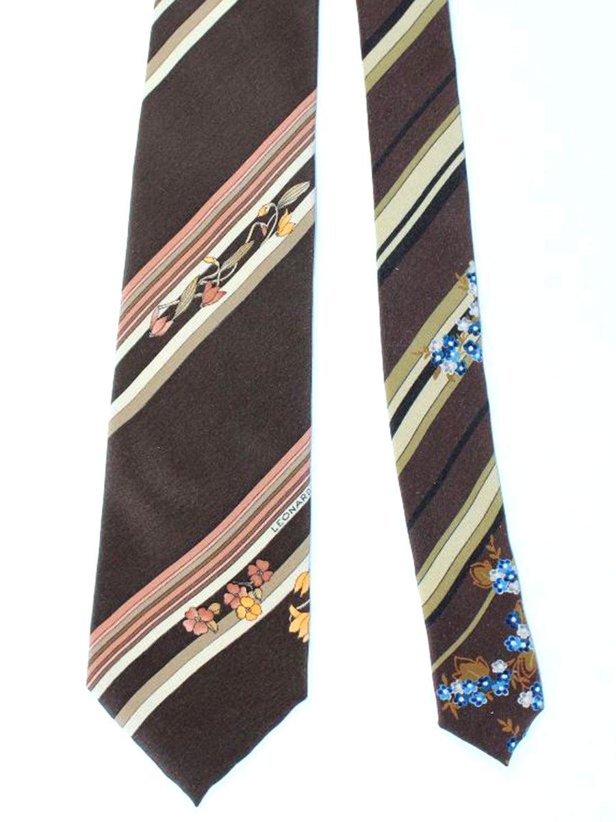 Leonard Tie Brown Stripes Floral - Vintage Collection