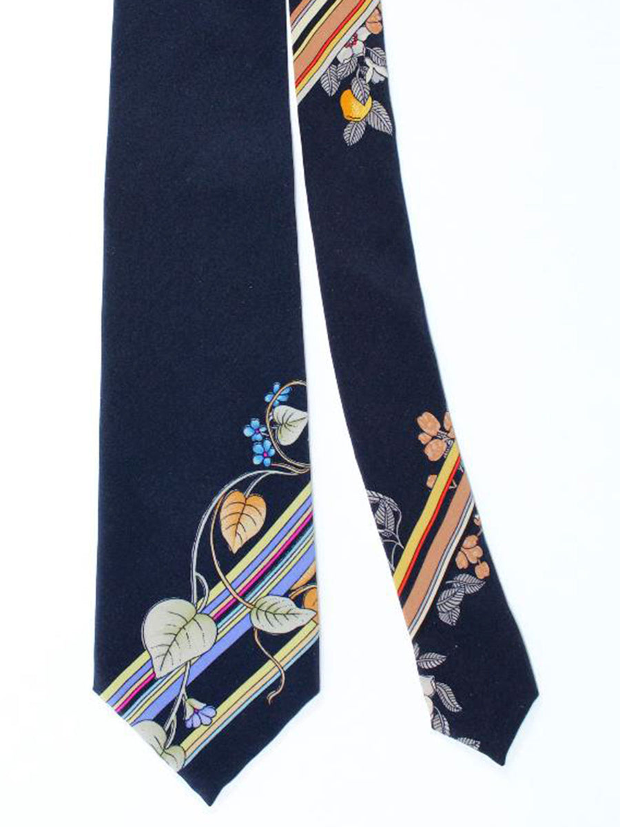 Leonard Tie Black Stripes Leaves - Vintage Collection