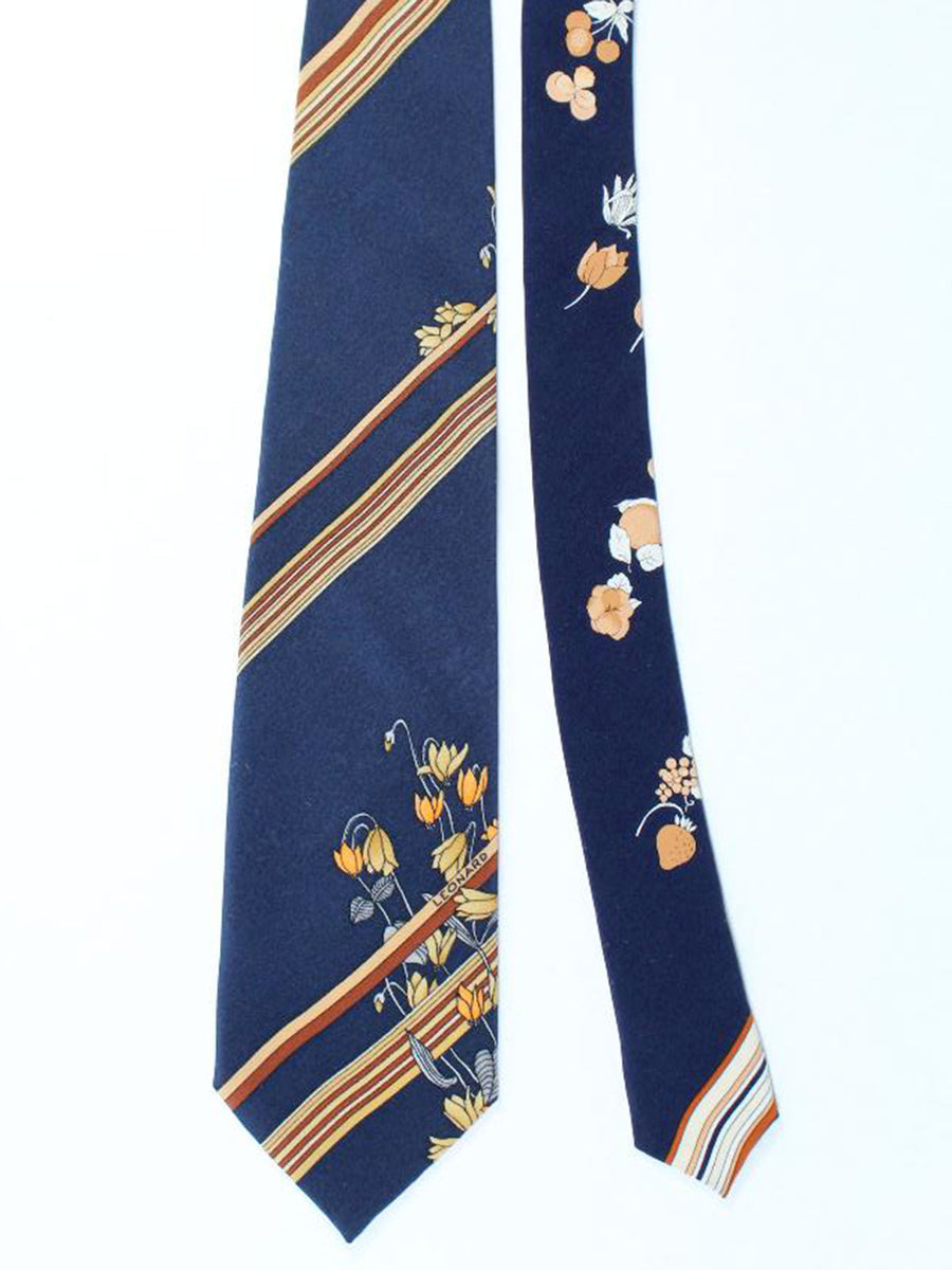 Leonard Tie Navy Brown Cream Stripes Floral - Vintage Collection