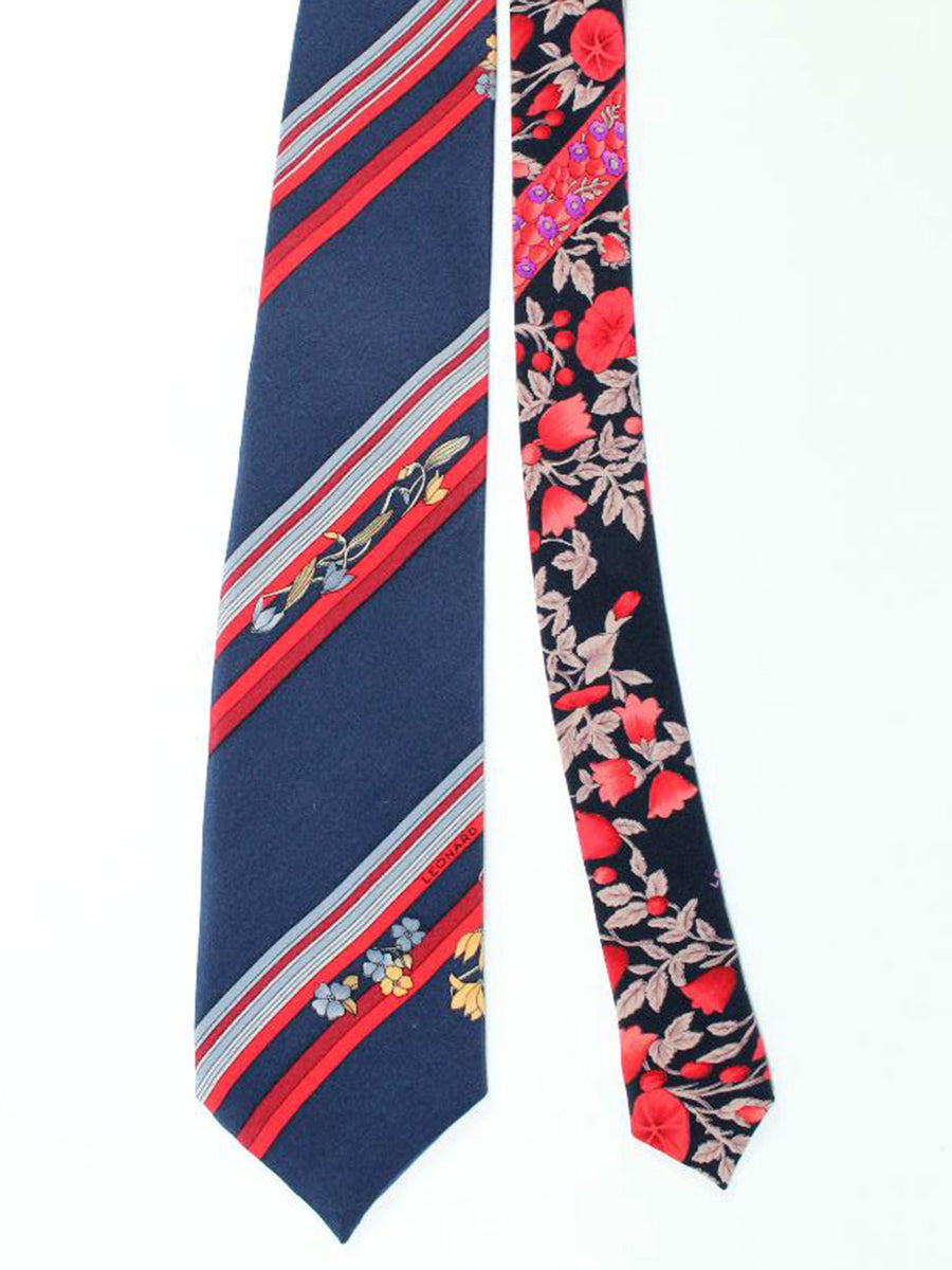 Leonard Tie Navy Red Gray Stripes Floral - Vintage Collection