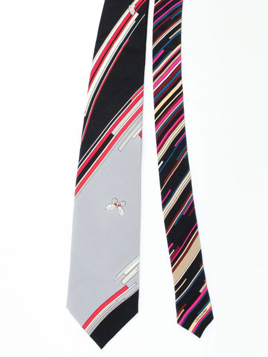 Leonard Tie Gray Red Geometric - Vintage Collection