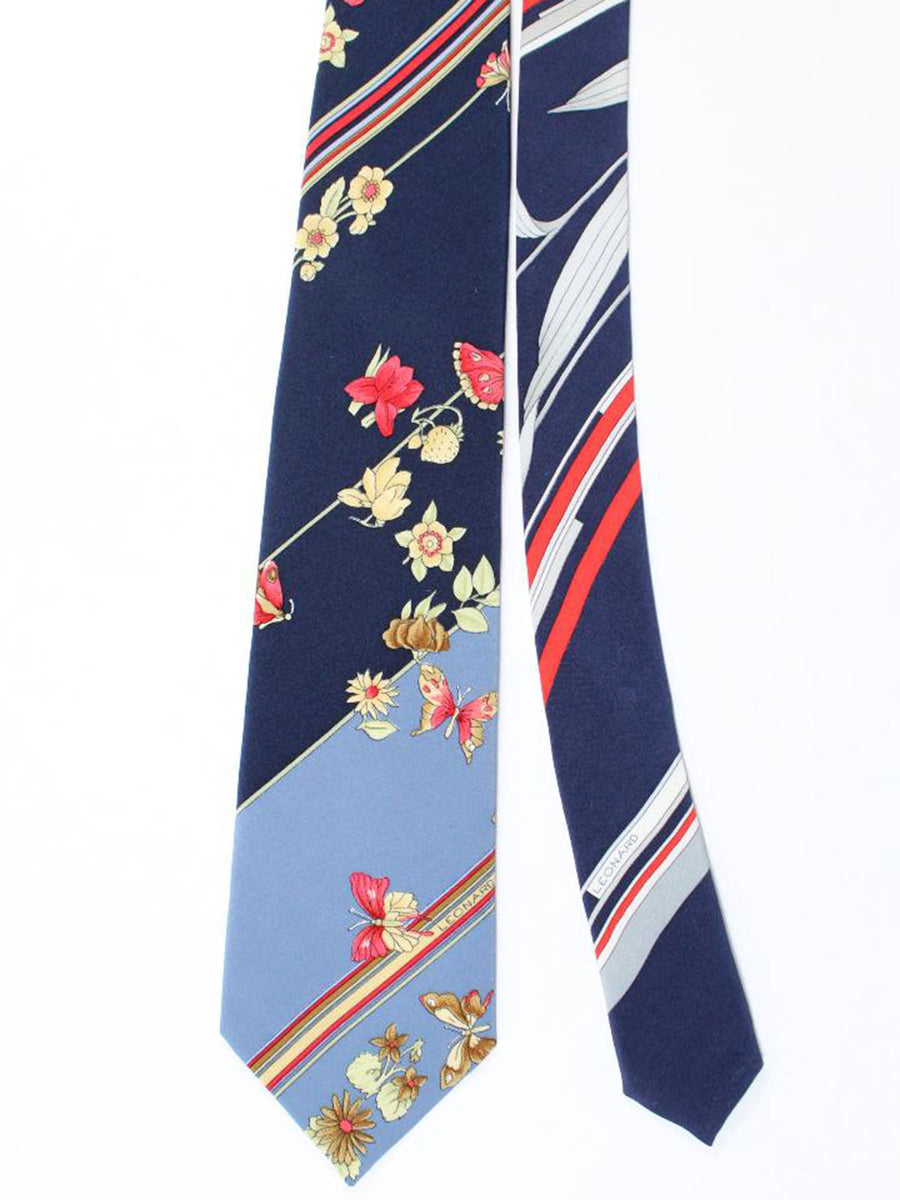 Leonard Tie Gray Navy Red Stripes Floral - Vintage Collection