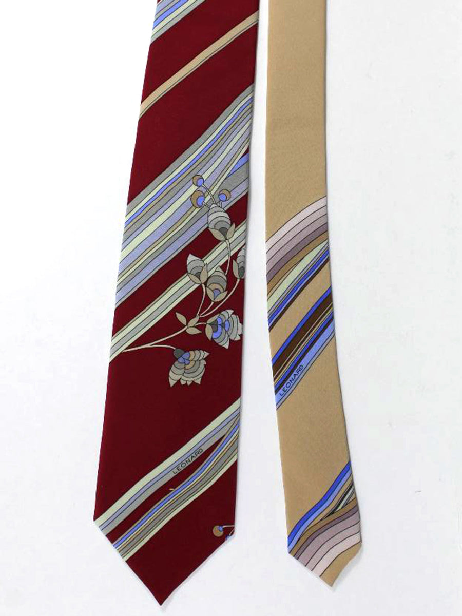 Leonard Paris Tie Maroon Grey Lilac Floral Stripes