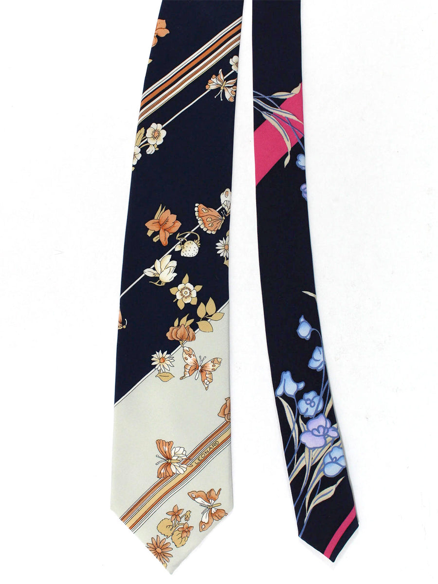 Leonard Tie Navy Gray Pink Stripes Floral - Vintage Collection