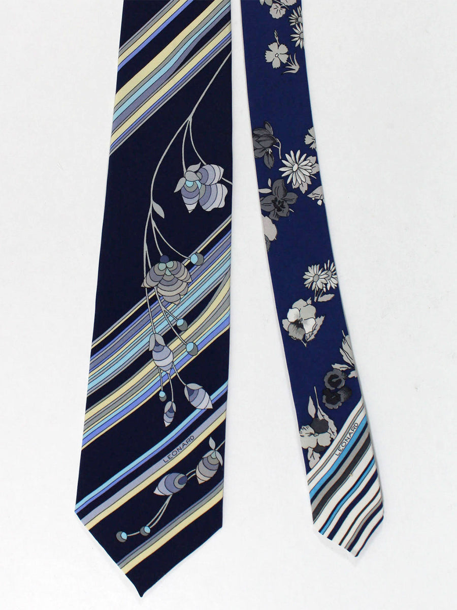 Leonard Tie Navy Lime Stripes Floral - Vintage Collection