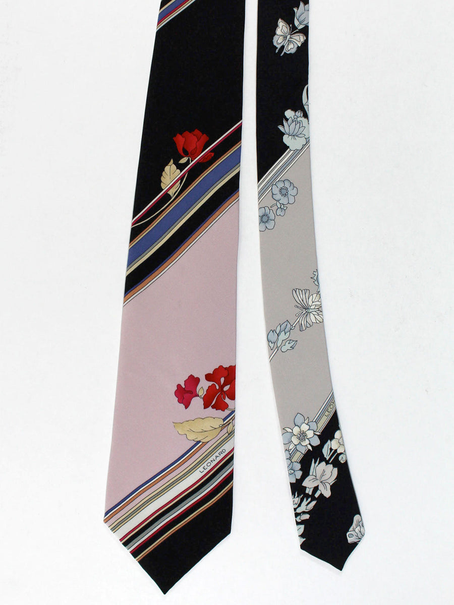 Leonard Tie Black Dust Pink Stripes Floral - Vintage Collection