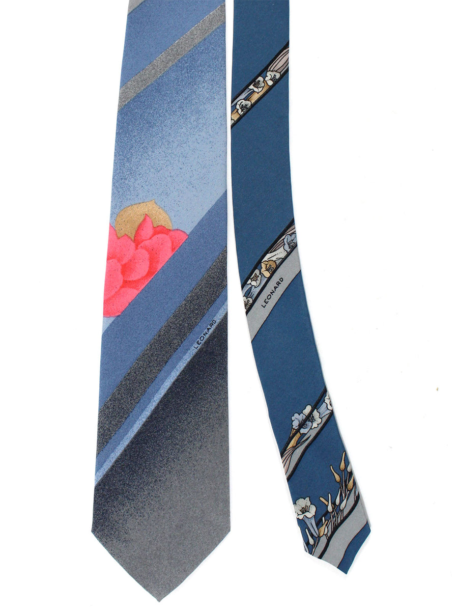 Leonard Tie Gray Blue Pink Stripes Floral - Vintage Collection