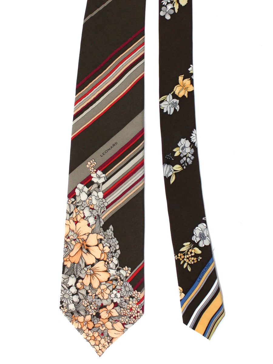 Leonard Tie Brown Gray Magenta Stripes Floral - Vintage Collection