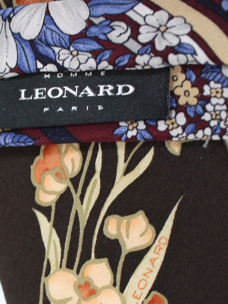 Leonard Tie Black Purple Red Stripes Floral - Vintage Collection