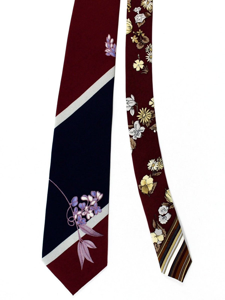 Leonard Tie Maroon Navy Gray Stripes Floral - Vintage Collection