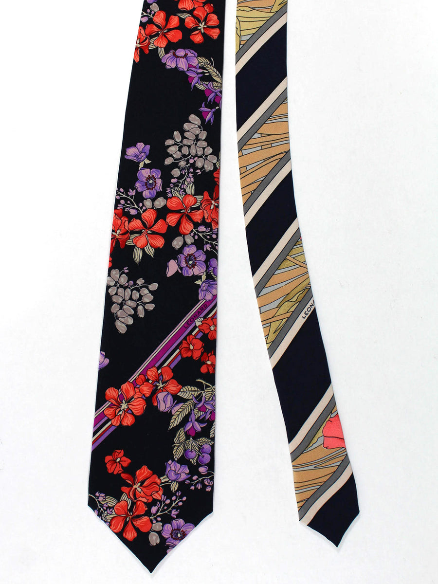 Leonard Tie Black Red Purple Floral - Vintage Collection