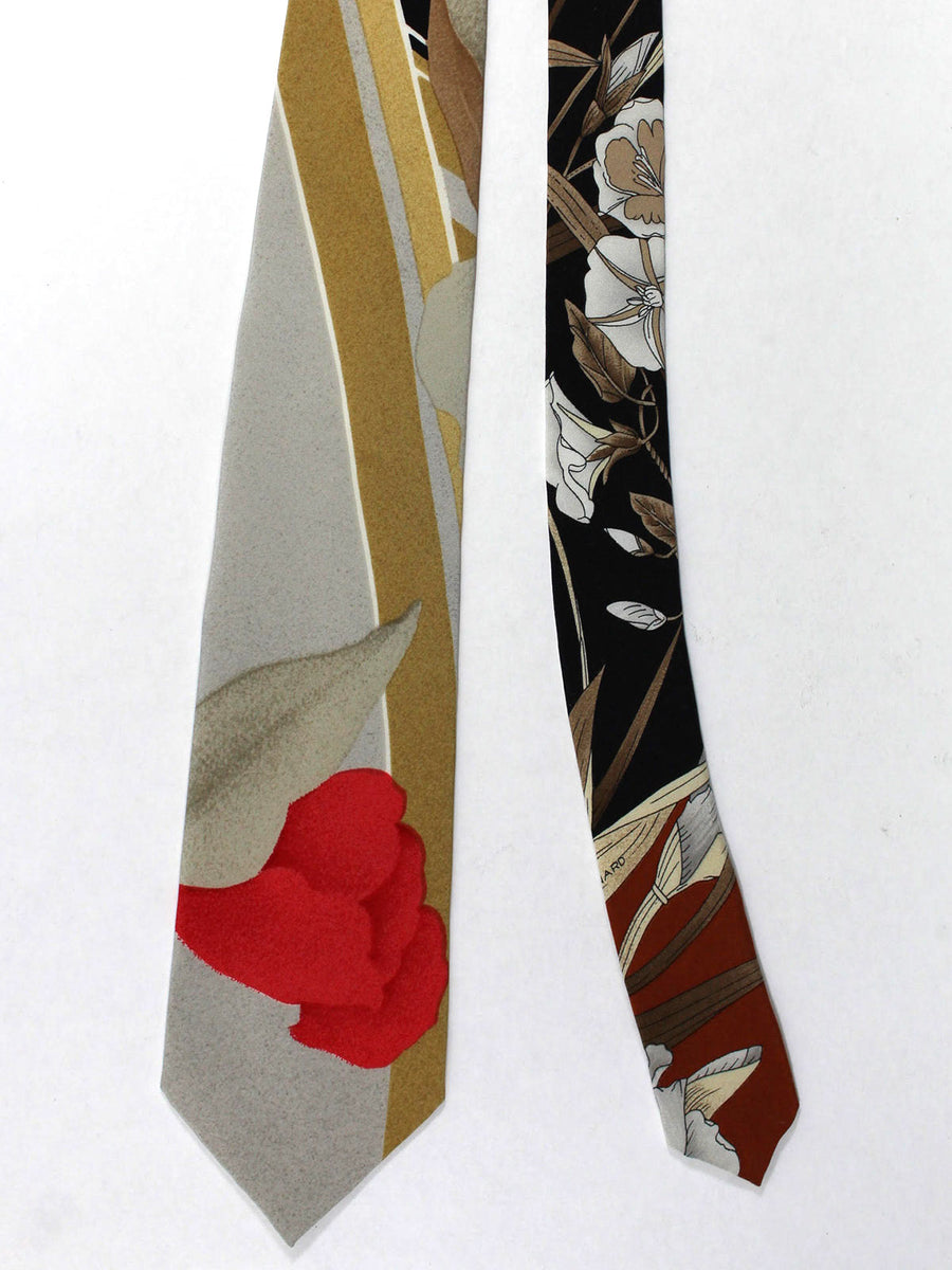 Leonard Tie Olive Gray Red Floral - Vintage Collection