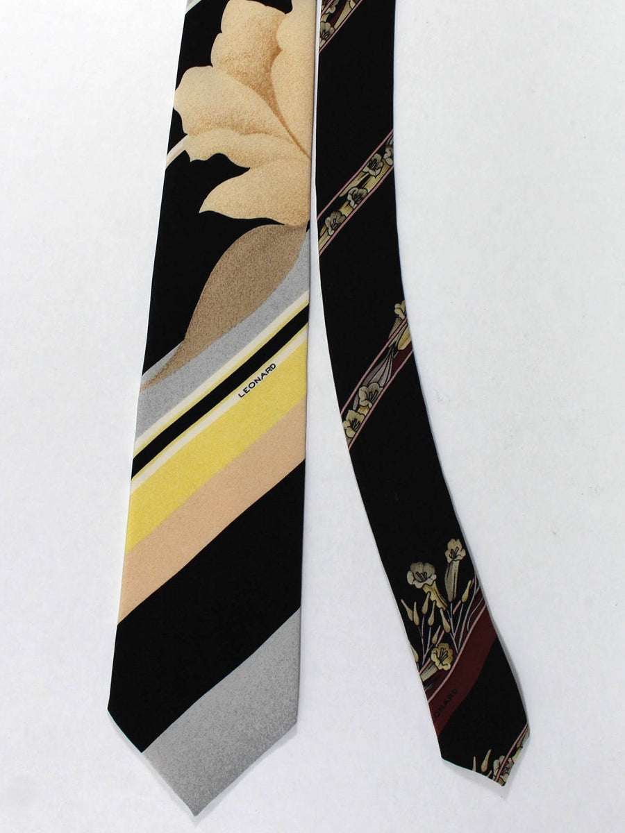 Leonard Tie Gray Yellow Pink Stripes Floral - Vintage Collection