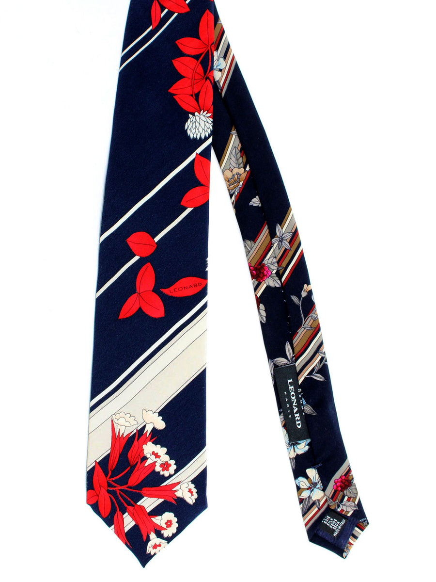 Leonard Tie Navy Red Gray Floral Stripes  - Vintage Collection
