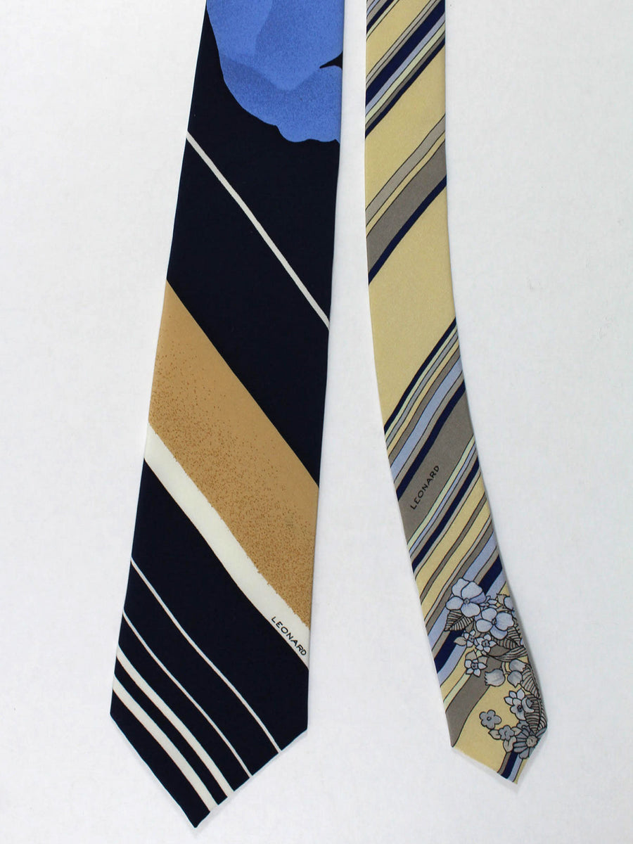 Leonard Tie Navy Cream Floral Stripes - Vintage Collection