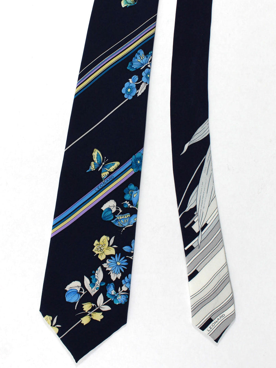 Leonard Tie Navy Floral Stripes - Vintage Collection