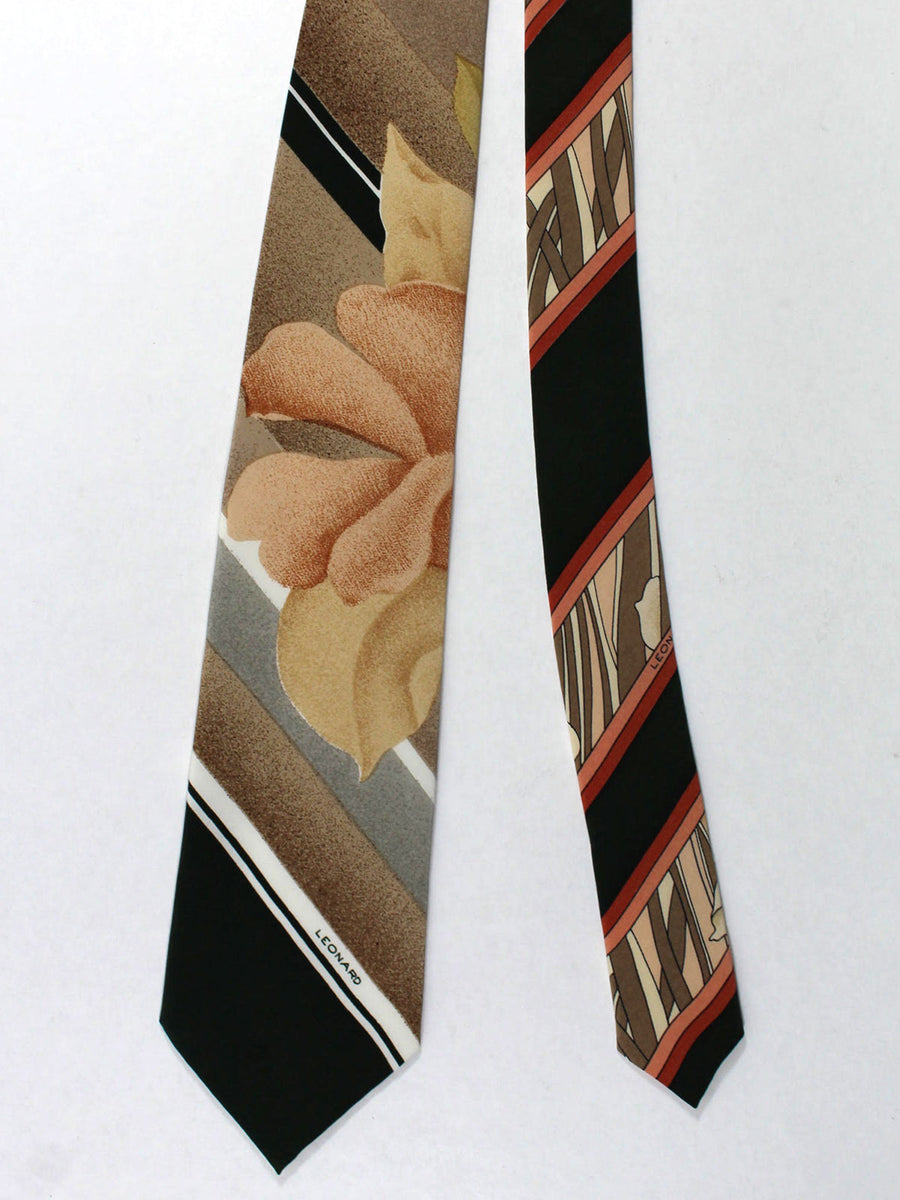 Leonard Tie Dark Gray Cream Floral Stripes - Vintage Collection