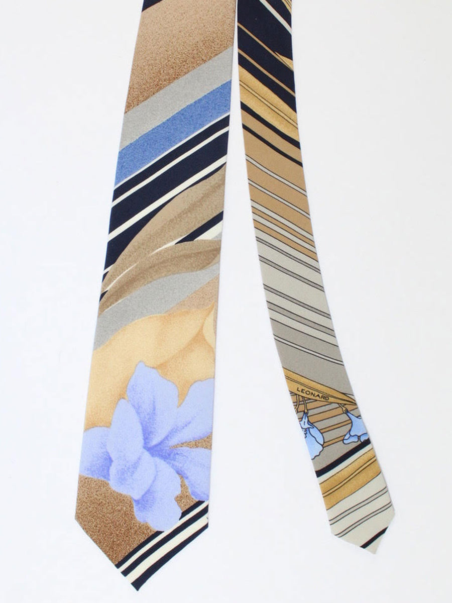 Leonard Paris Tie Cream Lilac Striped Floral - Vintage Collection