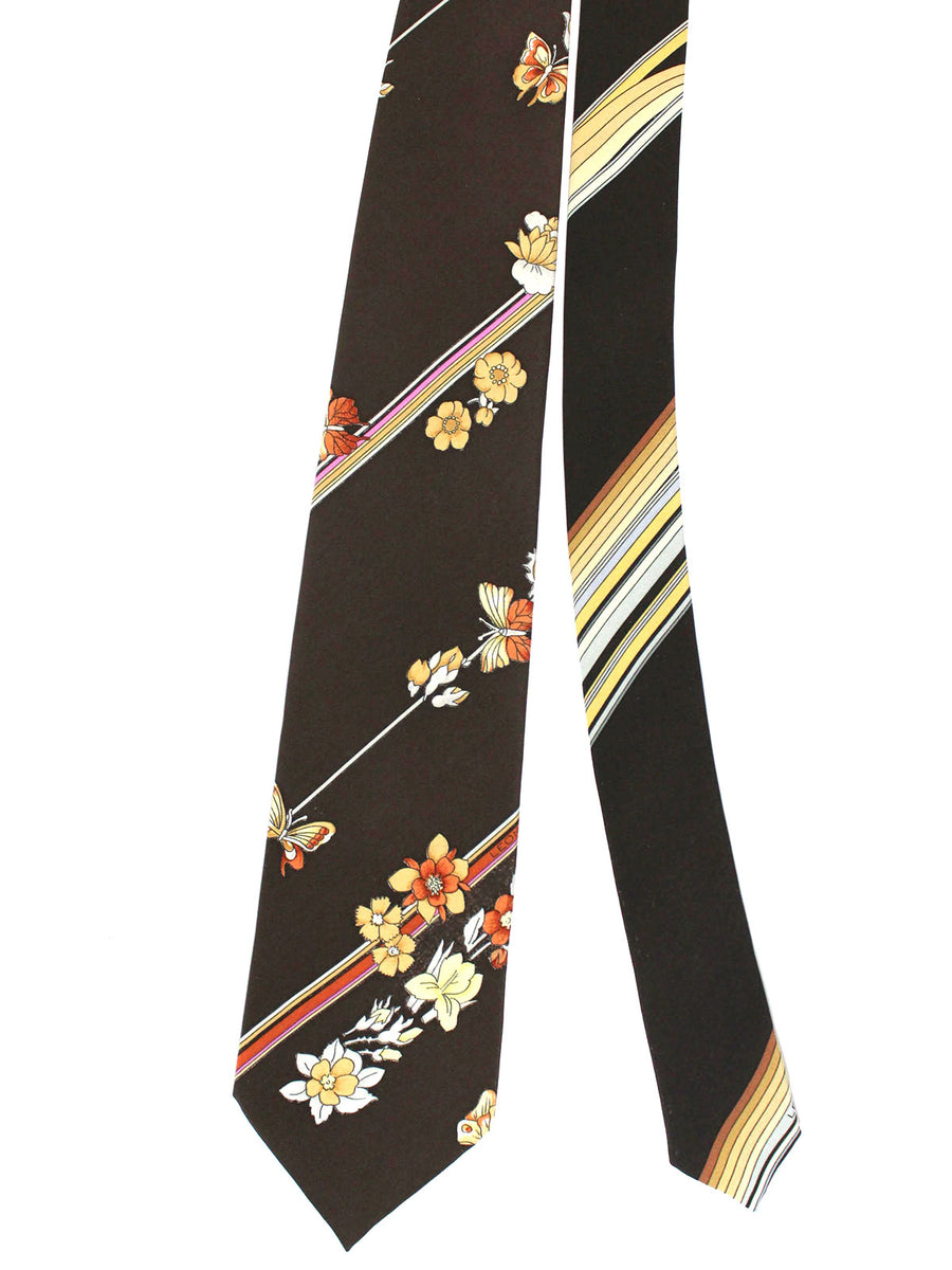 Leonard Paris Tie Brown Stripes Floral - Vintage Collection
