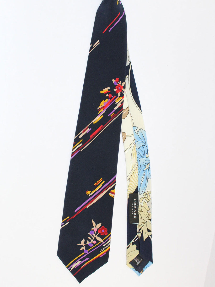 Leonard Paris Tie Black Purple Stripes Floral - Vintage Collection