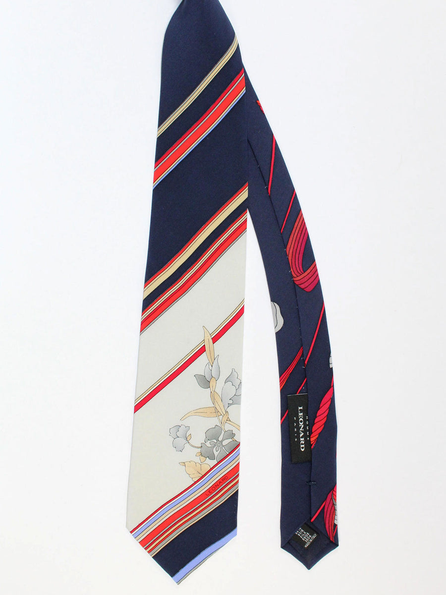 Leonard Paris Tie Navy Gray Red Stripes Floral - Vintage Collection