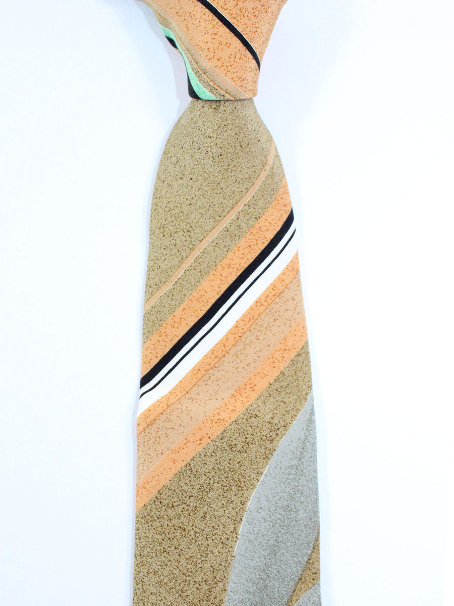 Leonard Tie Cream Green Stripes - Vintage Collection