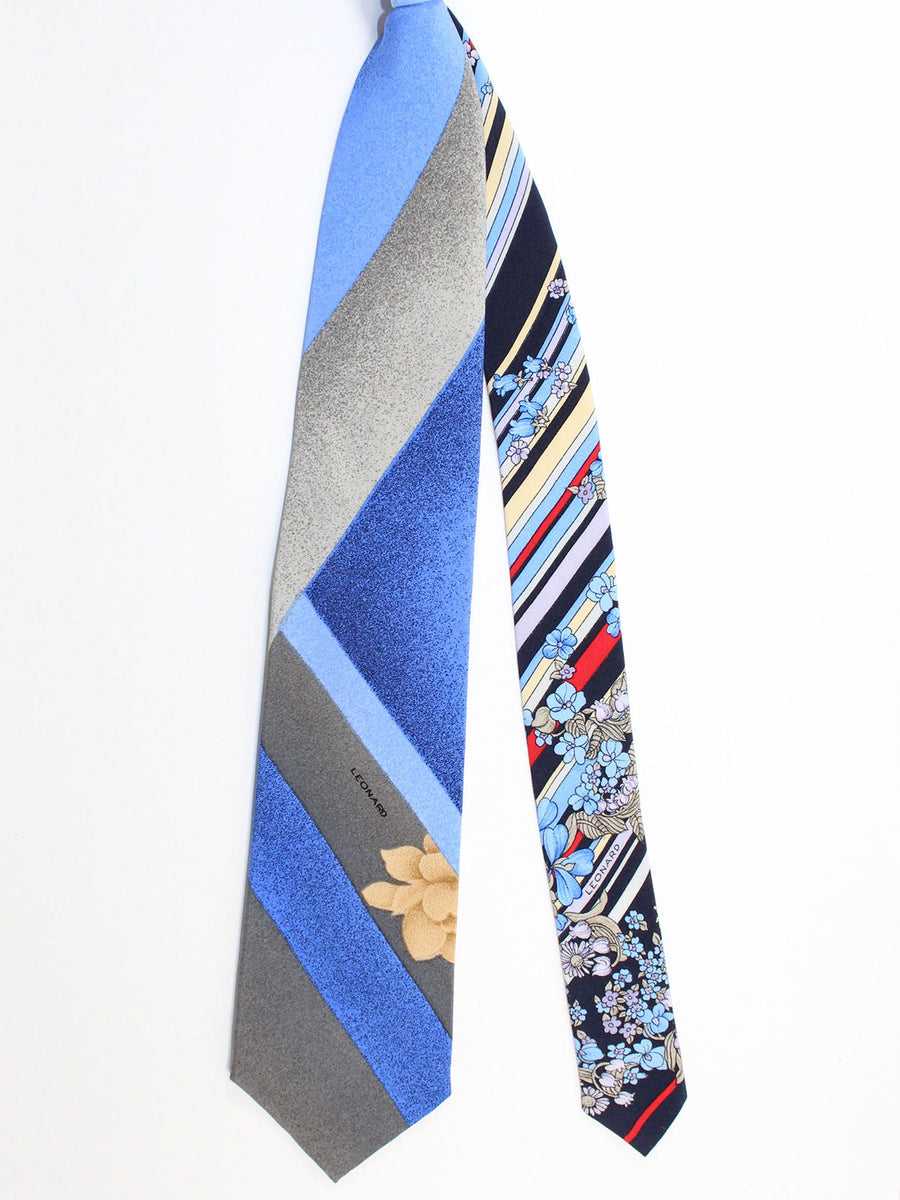 Leonard Tie Gray Blue Stripes Floral - Summer / Fall 2020 Collection