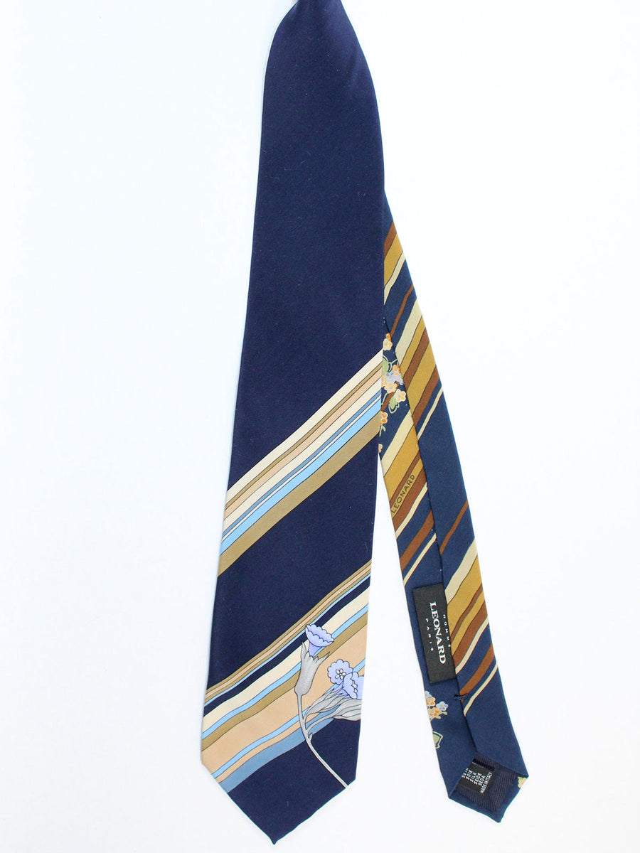 Leonard Tie Navy Blue Cream Stripes Floral - Vintage Collection
