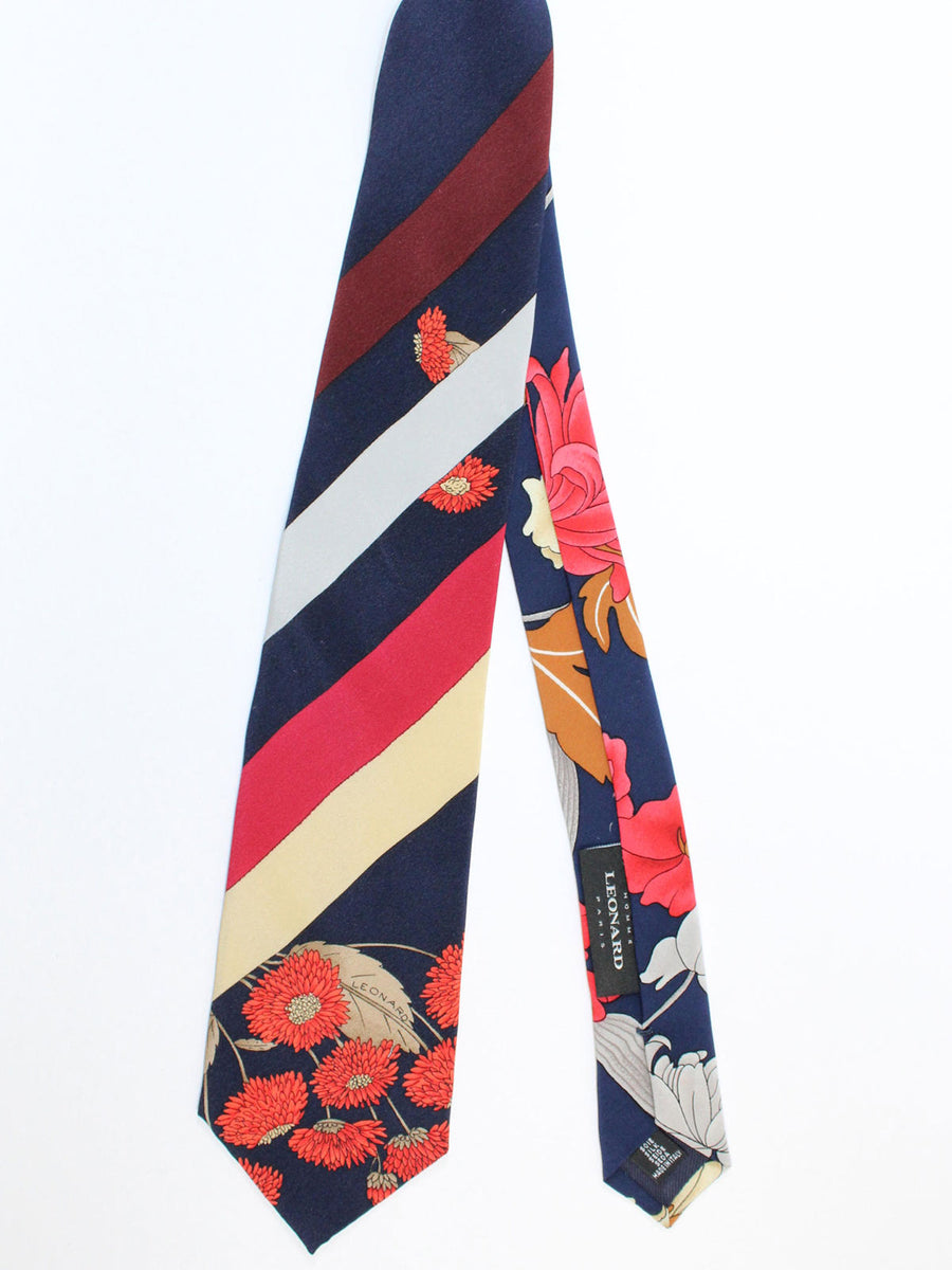 Leonard Tie Navy Maroon Stripes Floral - Vintage Collection
