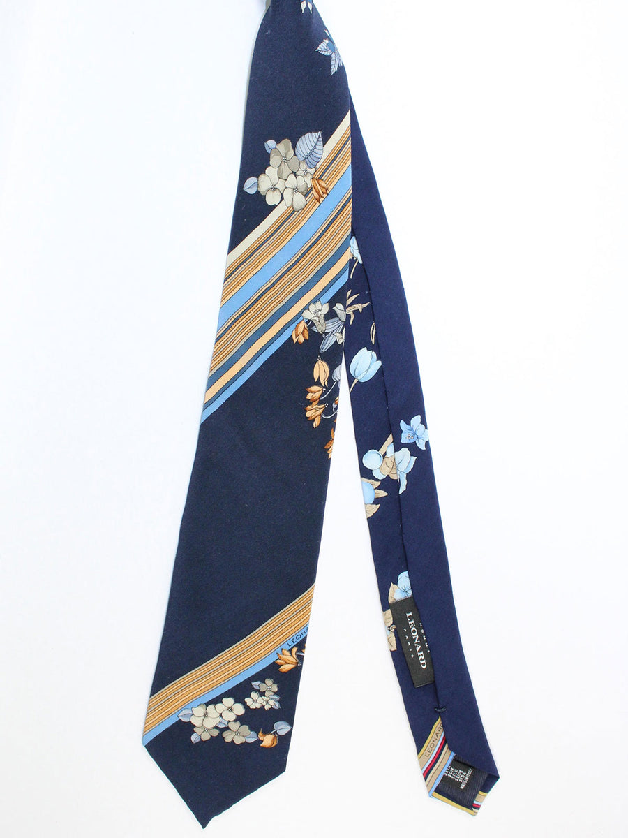 Leonard Tie Navy Blue Olive Stripes Floral - Vintage Collection