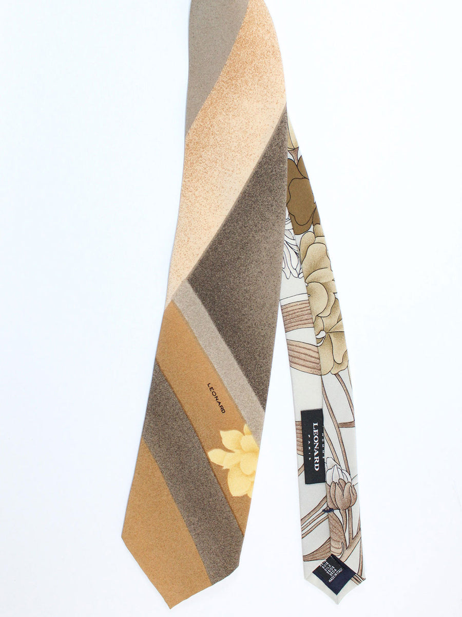 Leonard Tie Olive Stripes Floral - Vintage Collection