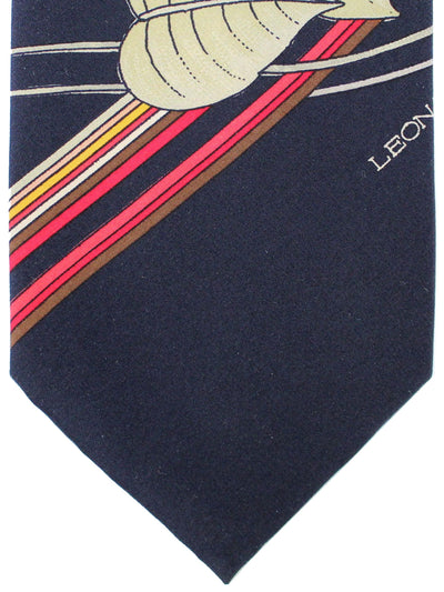 Leonard Paris Tie Black Red Gray Stripes Floral - Vintage Collection