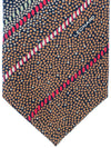 Leonard Paris Tie Black Brown Red Stripes Floral - Vintage Collection