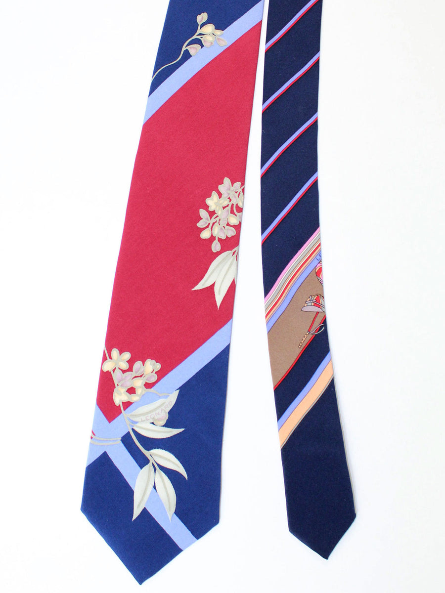 Leonard Paris Tie Navy Maroon Stripes Floral - Vintage Collection