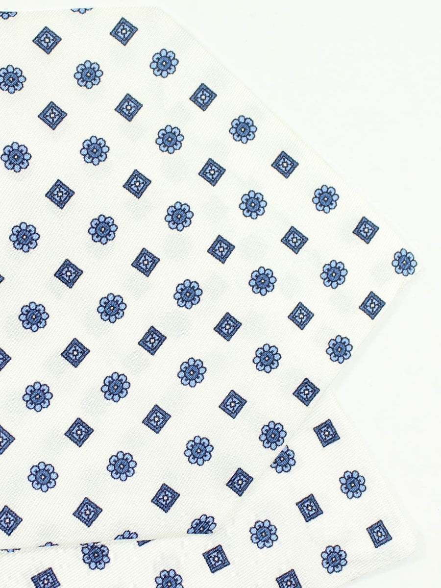 Luigi Monaco Silk Ascot Tie White Blue Navy - Hand Made In Italy