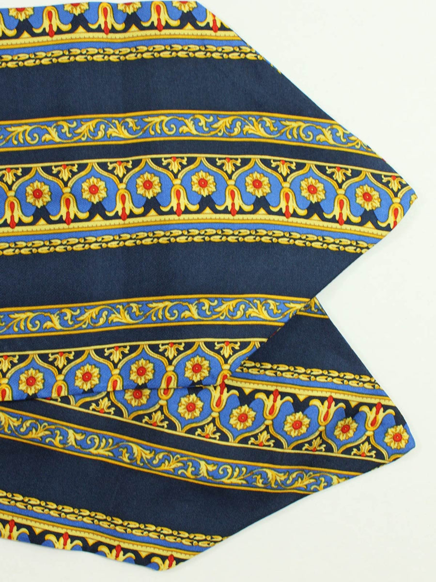 Luigi Monaco Ascot Tie Navy Blue Gold Design - Hand Made In Italy