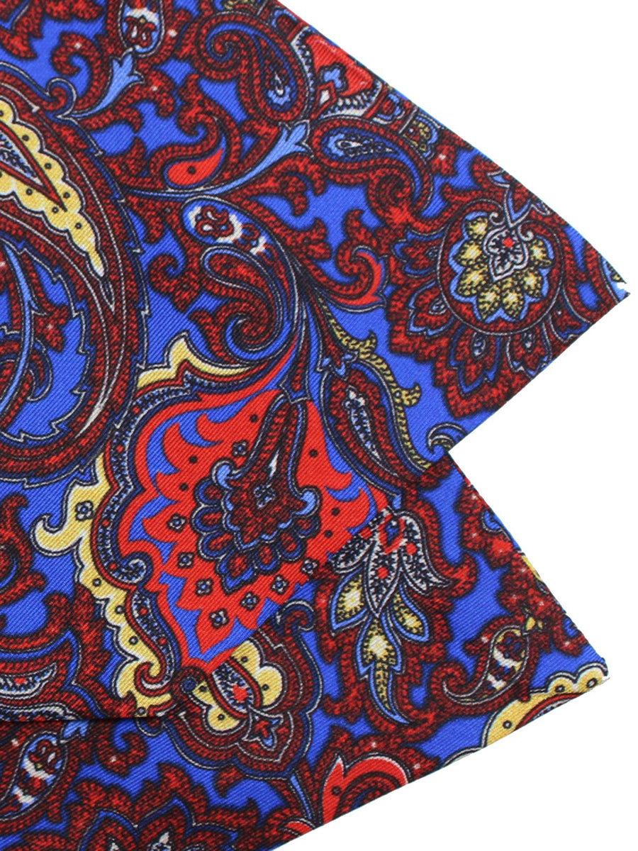 Luigi Monaco Ascot Tie Royal Blue Ornamental Floral - Hand Made in Italy