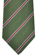 Luigi Monaco Extra Long Tie Green Burgundy Blue Stripes